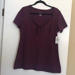Torrid purple short sleeve tie front tee